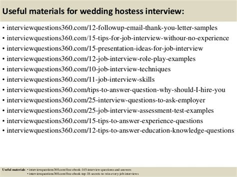 wedding hostess questions and answers