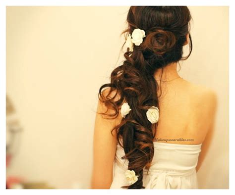 diy side swept cascading curls half up updo hair tutorial wedding