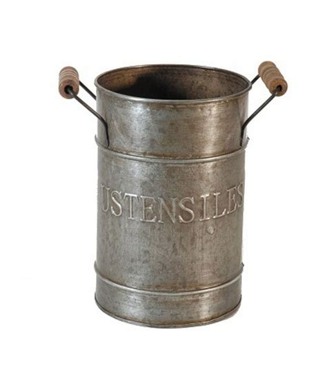 pot rangement ustensiles cuisine en zinc  bois