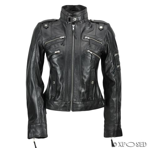 brown biker style new black brown ladies womens real leather slim fit soft