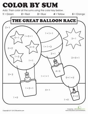 color by sum color by sum the great balloon race worksheet
