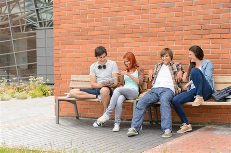 Students Friends Sitting Bench Outside Campus Stock Image Ralph Lauren Coffee Table Restoration Hardware Reclaimed Wood Tv Stand And Set Outdoor Fire Pit Fun Tables Making Amish Walmart End