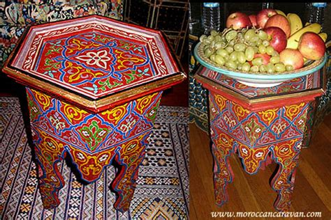 moroccan handpainted table tables wood furniture