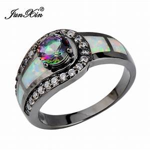 rainbow ball female opal ring black gold filled jewelry With natural stone wedding rings