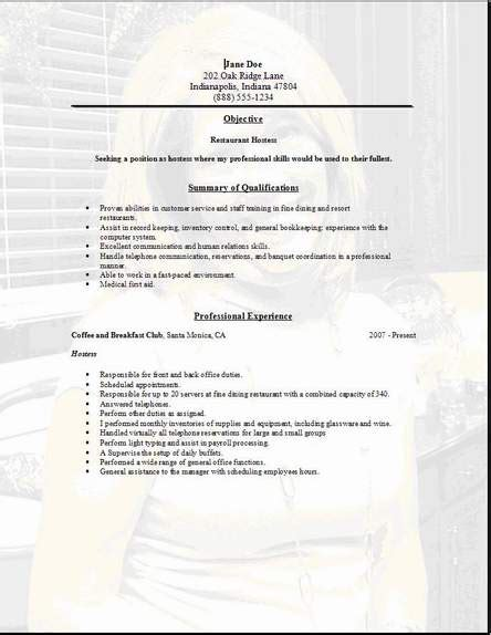 restaurant service resume occupational exles sles