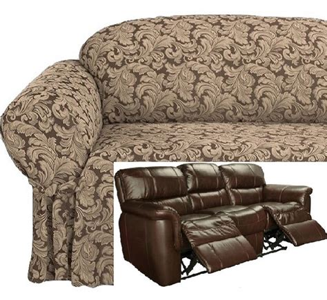 Dual Reclining Loveseat Slipcover by Dual Reclining Sofa Slipcover Damask Chocolate Brown Sure