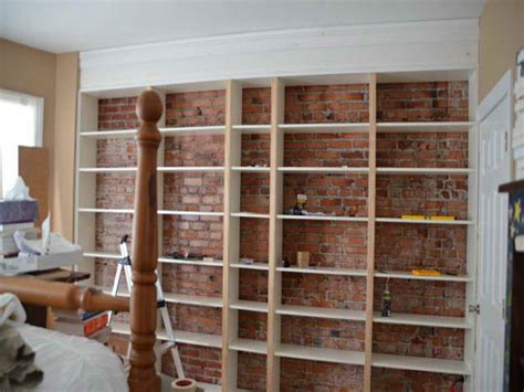 building a bookcase wall top diy brick walls bricks walls and cabinet shelving