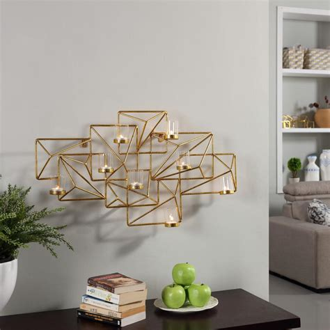 3365 gold wall candle holders danya b sparkling gold metal geometric wall candle sconce
