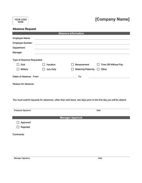absence request form templates sol medicine