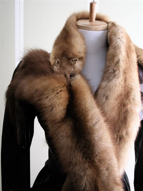 foto de Stone Marten GENUINE FUR Stole Boa Made of Three Pelts and