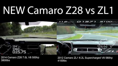 Camaro Z28 Vs Zl1 by New Camaro Z28 Vs Camaro Zl1 On Nurburgring