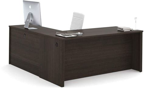 embassy chocolate 71 quot l shaped desk from bestar