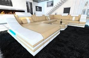 Couch Mit Beleuchtung : leather sofa set sofa turino xxl with led lighting leather couch sand beige white ebay ~ Frokenaadalensverden.com Haus und Dekorationen