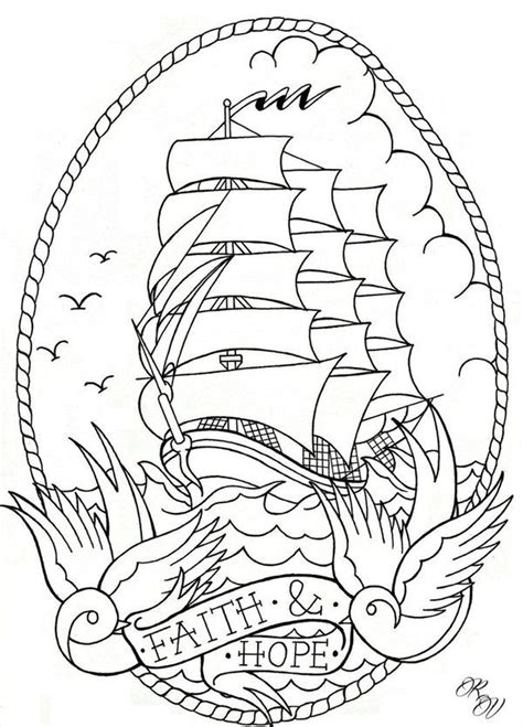 Boat Outline Tattoo by 21 Best American Traditional Tattoo Flash Outline Images
