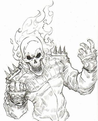 Ghost Rider Drawing Marvel Drawings Coloring Pages