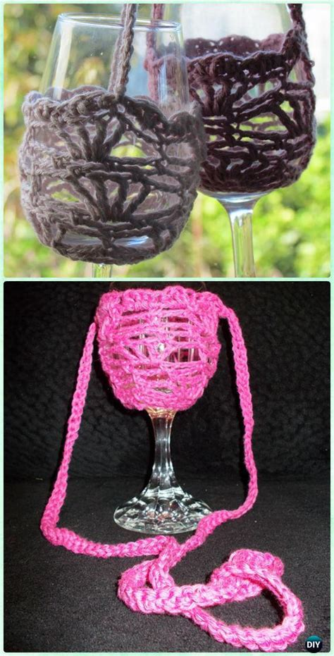 Crochet Wine Glass Lanyard Holder Free Patterns
