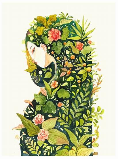 Watercolor Illustration Woman Garden Painting Paintings Kaa