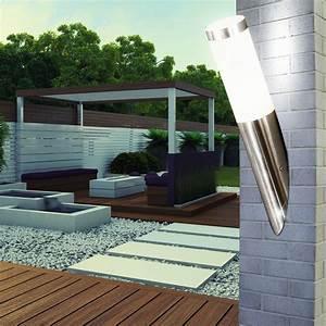 2er set led edelstahl haus wand beleuchtungen balkon With französischer balkon mit strahler für den garten