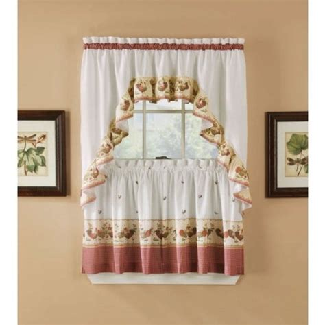 walmart rooster kitchen curtains arlee rooster kitchen tier and valance swag set 36