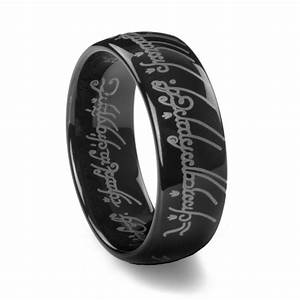 lord of the rings black tungsten carbide one ring With white gold lord of the rings wedding band