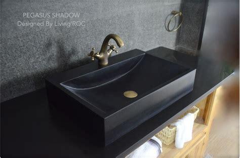 mm black basalt stone bathroom basin pegasus black