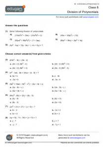 Division Practice Worksheets Class 8 Math Worksheets And Problems Division Of Polynomials Edugain India