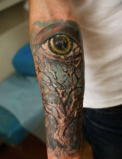 wonderful colorful tree  eye  blue background tattoo