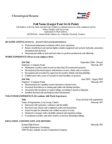 Chronological Resume Is by Chronological Resume This Is A Fairly Standard Layout For