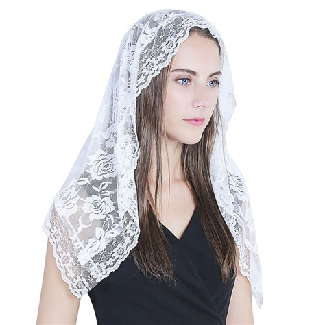 white veil lace mantilla catholic church chapel veil head