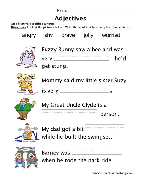 adjective worksheets teaching