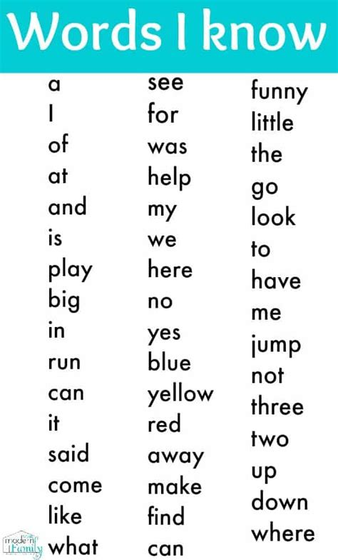 kindergarten sight words and how to teach them 375 | Kindergarten sight words printable