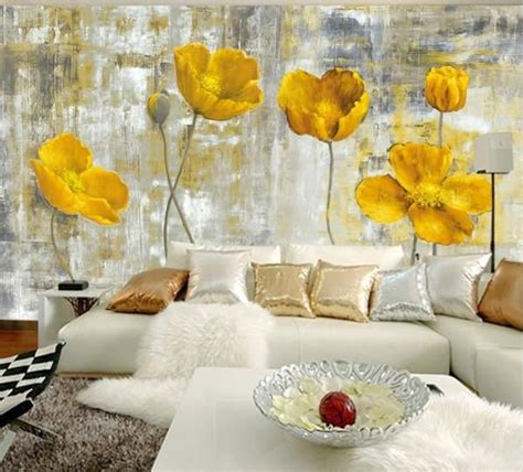 Lovely Pastel Wall Mural Design Ideas by European Style Yellow Flowers Abstract Mural Wallpaper In