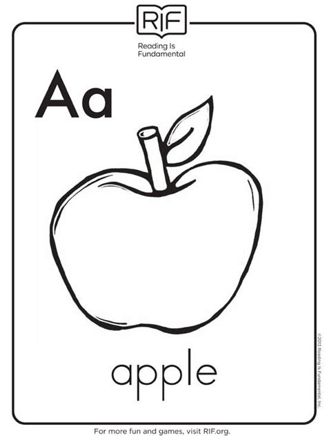 free alphabet coloring pages 517 | 550 apple