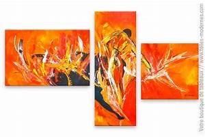 Tableau Peinture Moderne : peinture moderne rouge et orange la corrida ~ Teatrodelosmanantiales.com Idées de Décoration