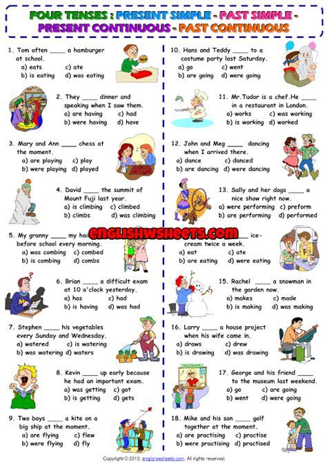 tenses esl multiple choice test worksheet