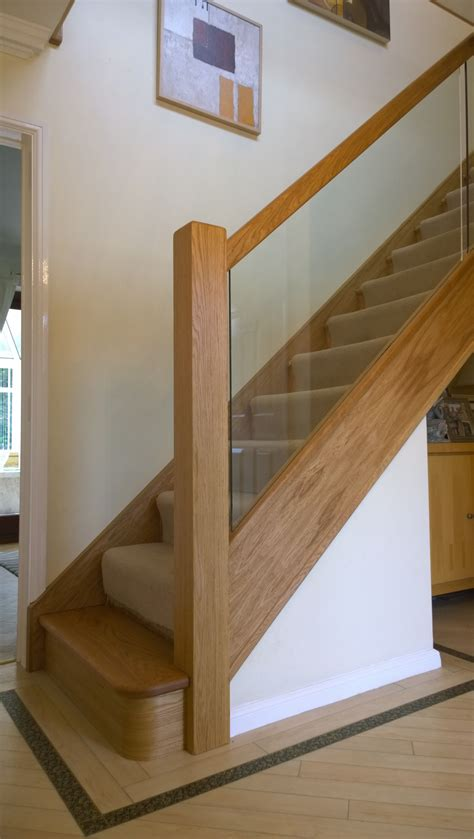 Oak Banister Rails by Oak Glass Renovation With Curtailed Base Tread 80 Stairs