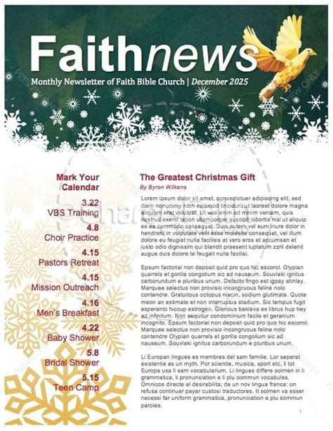 Free Christian Newsletter Templates by 5 Free Newsletter Templates For Church