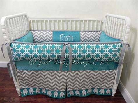 Teal And Grey Baby Bedding by Custom Crib Bedding Set Eastin Gray Chevron And Teal