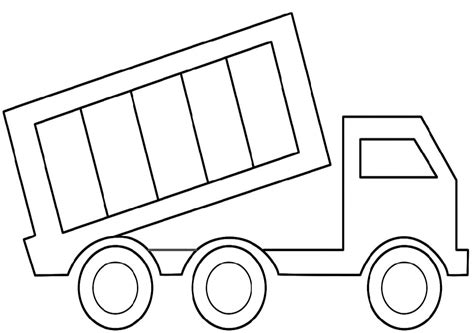 truck template simple dump truck page cutouts coloring pages