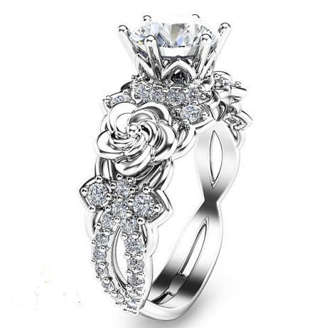 created moissanite floral 925 sterling silver engagement ring evermarker