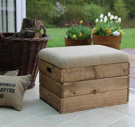 upholstered footstool storage crate seat   comfi