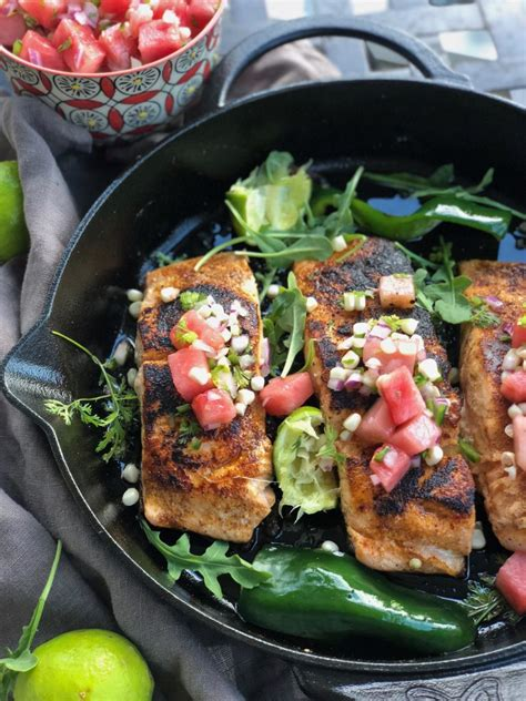 I really like salmon and being from the pacific northwest, we eat it all the time. Blackened Salmon with Watermelon Corn Pico de Gallo