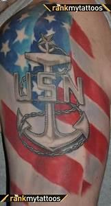 Angry Skull Designs Patriotic Navy Anchor On Biceps Tattooshunter Com