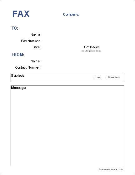 blank fax cover page  fax cover sheet template