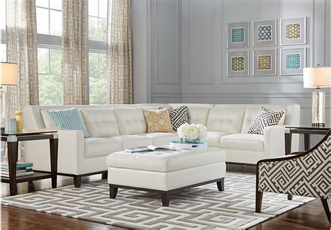 White Leather Living Room : Reina Point White Leather 5 Pc Sectional Living Room