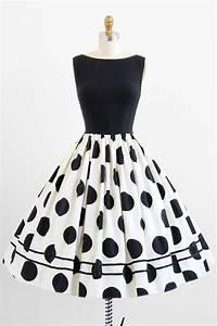 Vintage 1950s dress / 50s dress / Black and White Polkadot Rockabilly Party Dress | 1950s Black ...