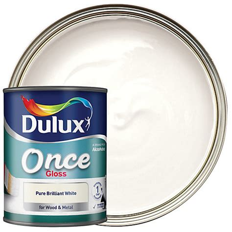 dulux once gloss paint pure brilliant white 2 5l wickes co uk
