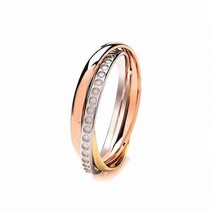 4mm 9ct 3 colour gold diamond cut effect russian style With russian style wedding ring