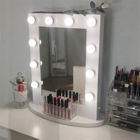 white makeup vanity mirror with light aluminum