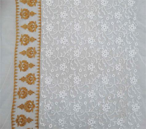 transparent white fabric 44 wide floral embroidered net